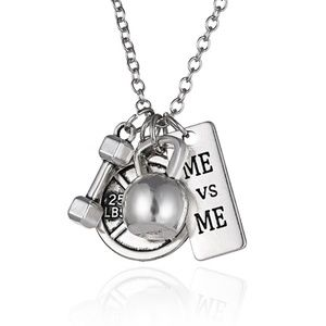 3/$30 Me Vs Me Gym Weights Dumbbell  Necklace